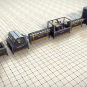 Production line for bent fibreglass or basalt fibre frame elements.